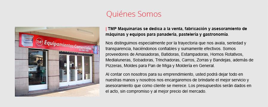 TMP Maquinarias: Venta, fabricación y asesoramiento acerca de maquinas y equipos para panadería, pastelería y gastronomía